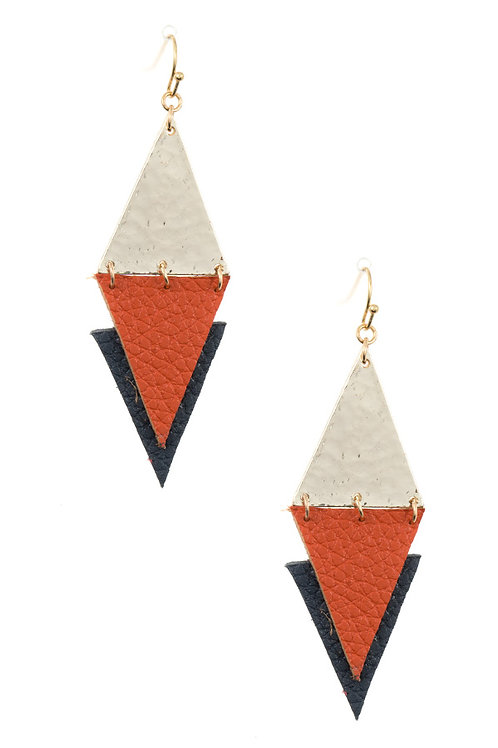 Hammered Diamond Faux Leather Link Earrings