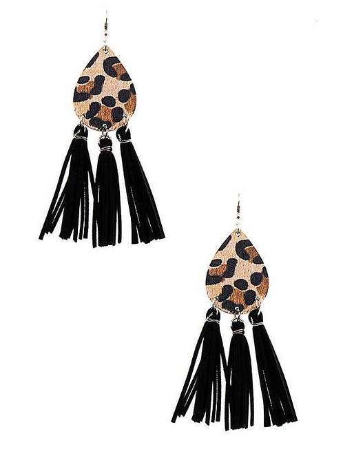 Leopard Print Tassel Dangle Earrings