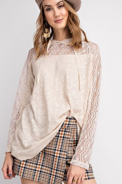 Crochet Sleeve Hooded Pullover Top