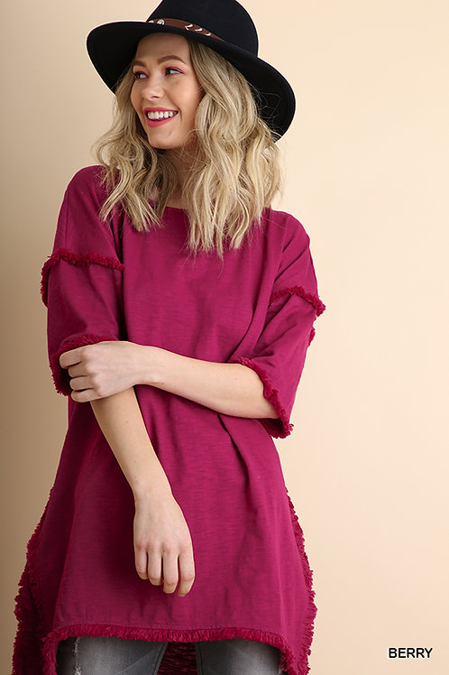 High Low Tunic with Fringed Hems