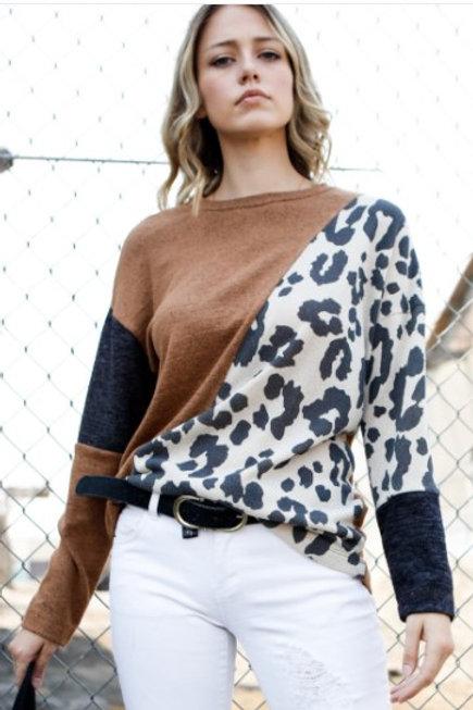 Color Block and Mixed Print Knit Top