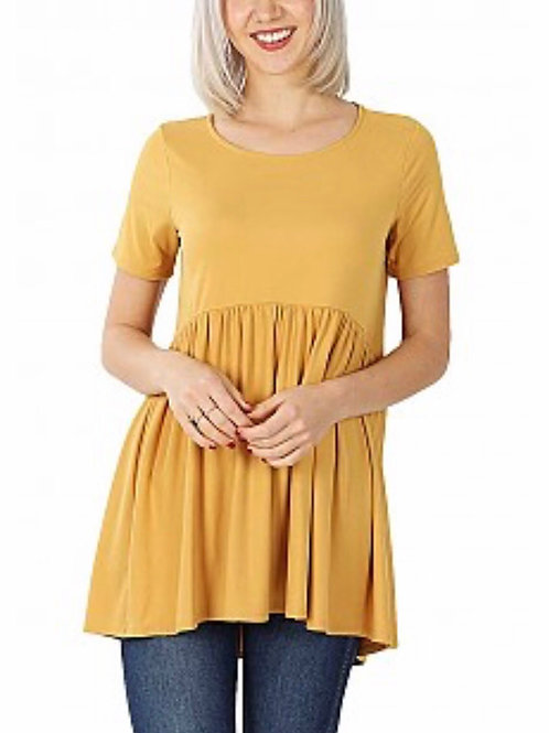 Brushed DTY Short Sleeve Waist Shirring Detail Top