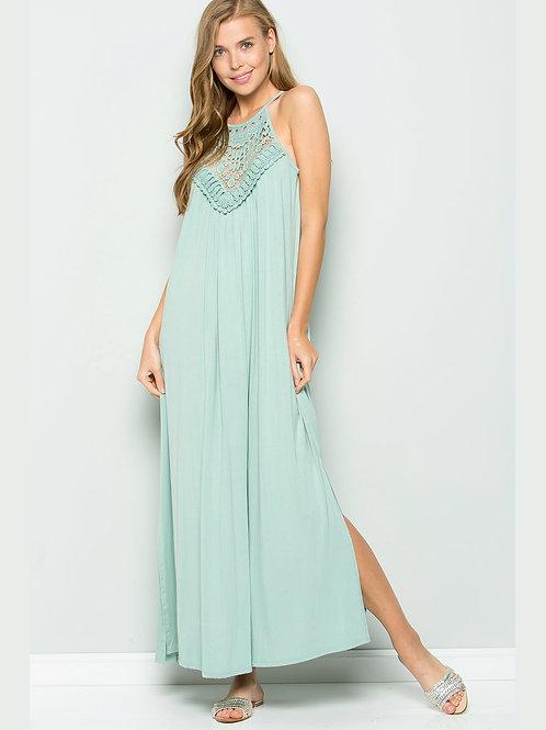 Spaghetti Strap Crochet Lace Maxi Dress