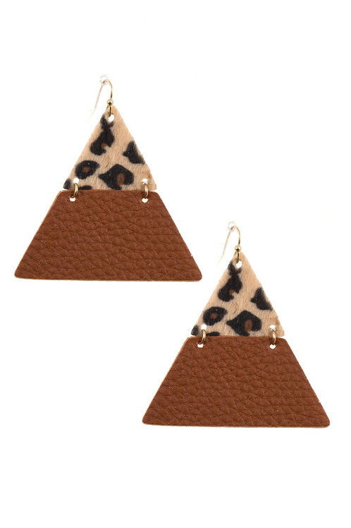 Animal Print Triangle Faux Leather Earrings