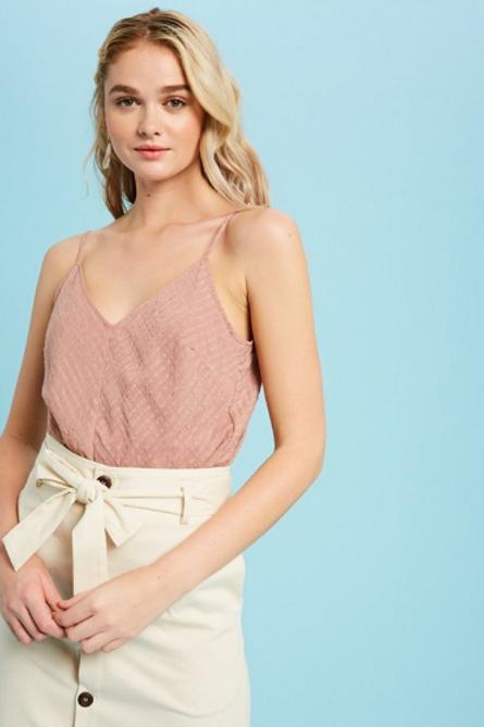 Stripe Textured V-neck Camisole Top