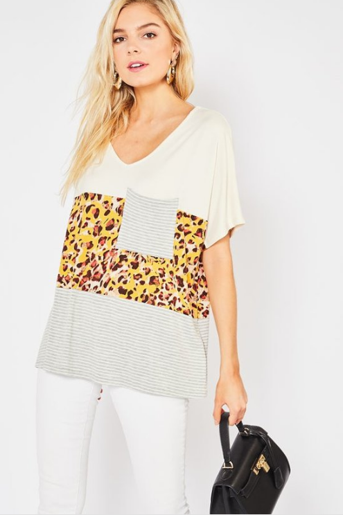 Striped and Leopard Contrast Featuring Pocket Detail
