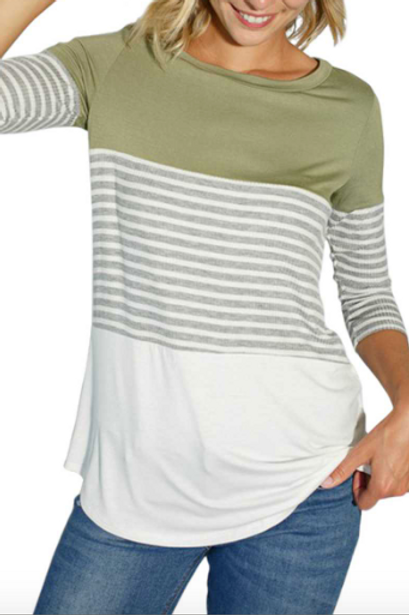 Rib Striped Color Block 3/4 sleeve