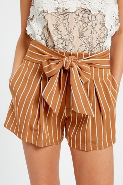 Stripe Waist Tie Shorts