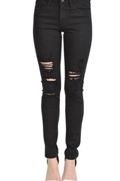 Mid-Rise Skinny Fit Distressed Black Denim