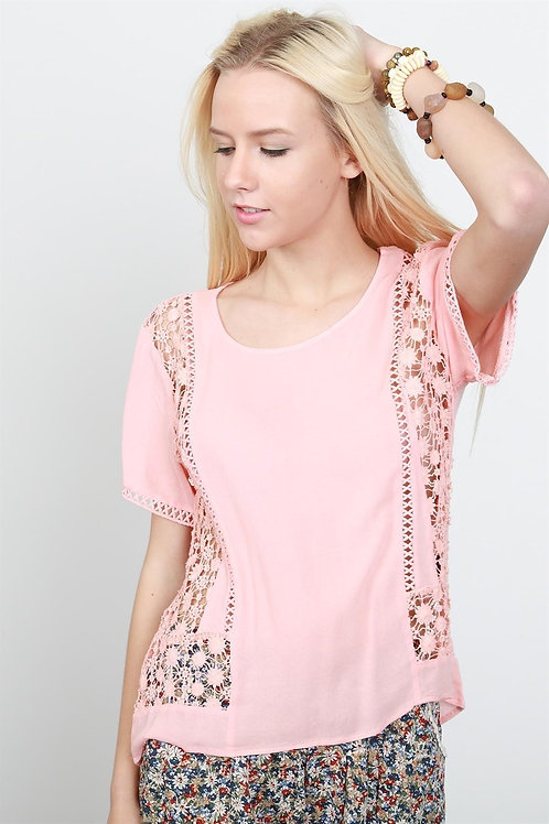 Guaze Knit Lace Inset Top