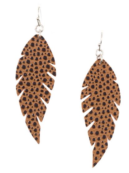 DOTTED ACCENT LEAF DANGEL EARRING