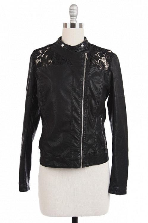 Black Woven Leather Jacket
