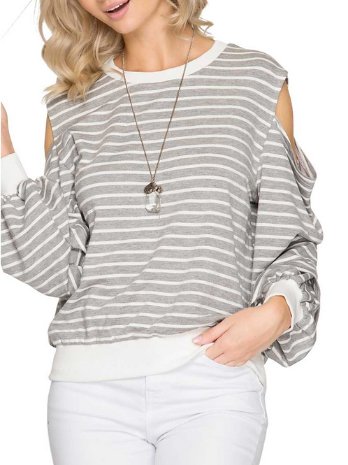Striped Cold-Shoulder Pin-Tuck Sleeve