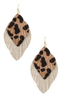 ANIMAL PRINT FRINGE DANGLE EARRING