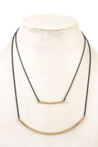 CURVED PENDANT DOUBLE ROW NECKLACE