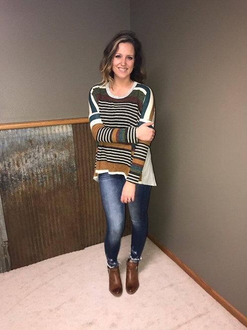 Long Sleeve Stripe Contrast Top