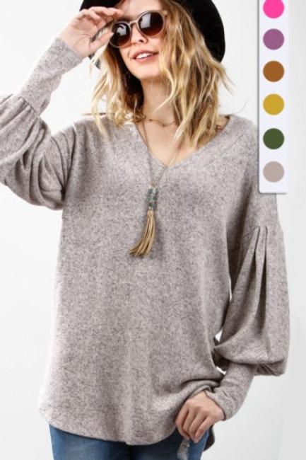Bishop Long-Sleeve V-Neck Knit Top