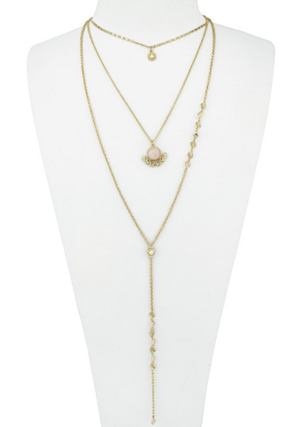 Natural Stone Multi Layered Lariat Necklace