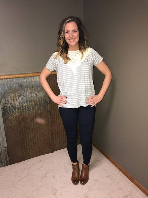 Striped Short Sleeve Top With Lace Applique Detail