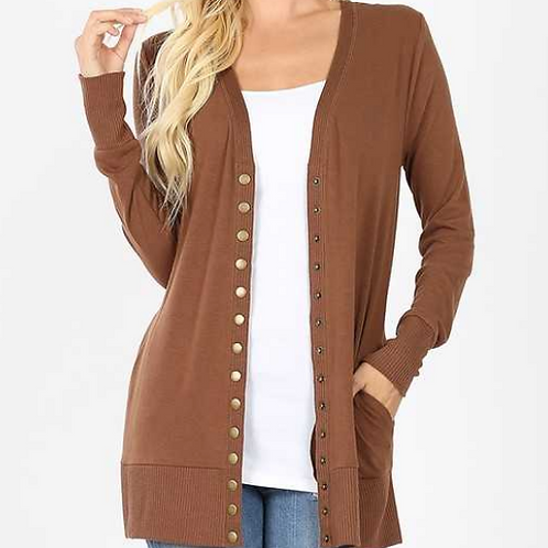 Snap Cardigan with Pockets