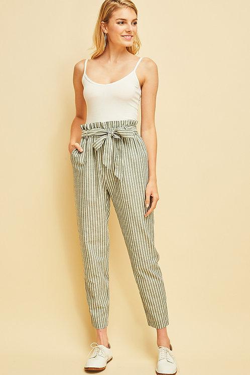 Pin stripe Paperbag Waist Pants