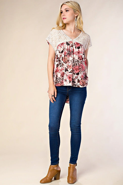 Flower Print Lace Top