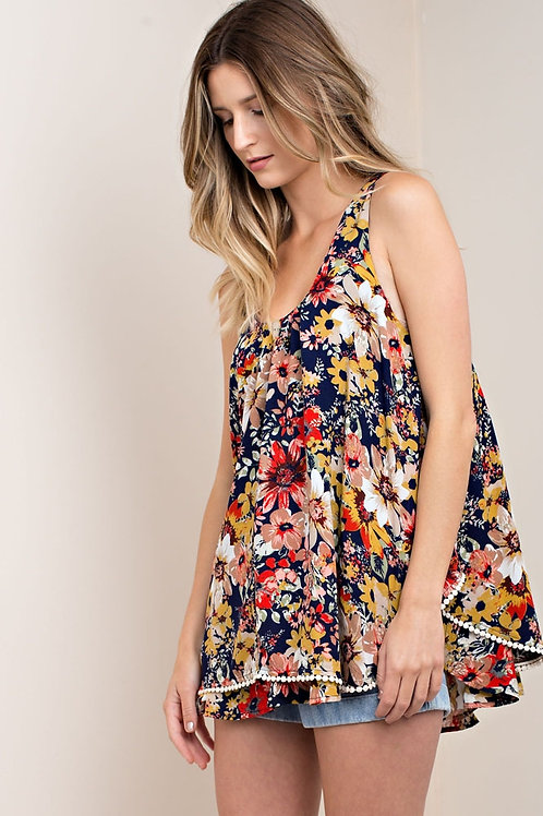 Double Layer Flower Print Top