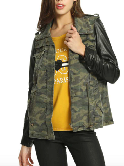 Camo Jacket with Contrast Sleeves