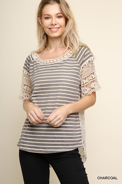 Striped and Crochet Short Sleeve Top with High Low Scoop Hem