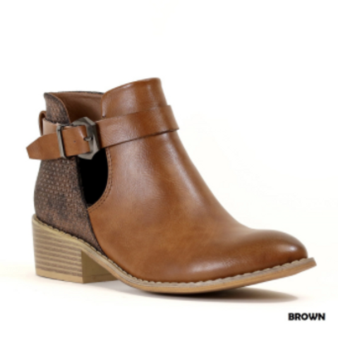 Brown Bootie with Block Heel