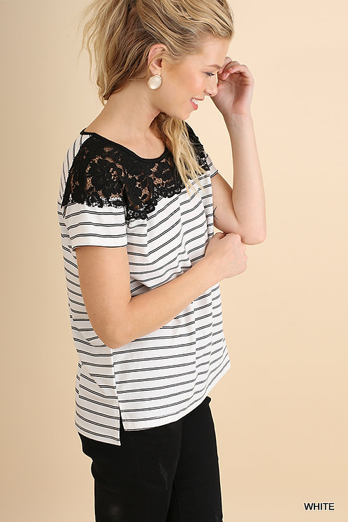 Striped T-Shirt with Lace Neckline