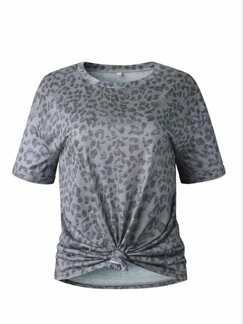Grey Leopard top with tie