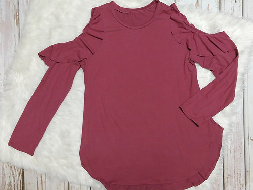 Cold Shoulder Long Sleeve Ruffle Detail Top
