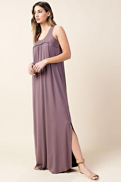 Mesh Lace Yoke Open Back Maxi Dress