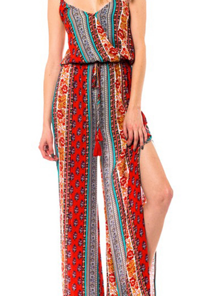 Floral Mixed Print Tassel-ties Jumpsuit With Side Slits