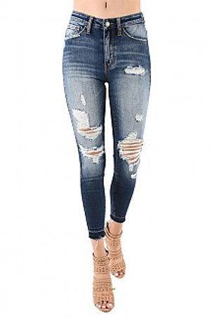 Mid-Rise Ankle Length Distress Denim Jeans