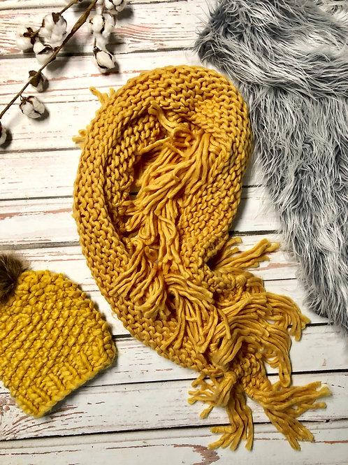 chunky mustard scarf