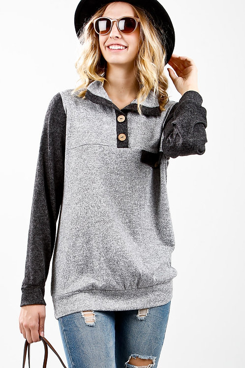 Caroline Long Sleeve Knit Top with Buttons