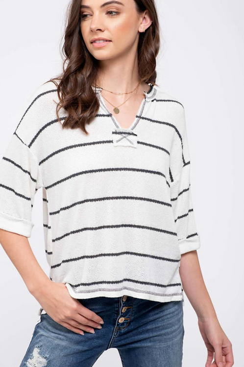 Ava Striped Rolled Sleeve Knit