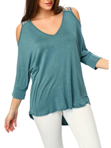 3/4 Sleeve V-neck Cold Shoulder Knit Top