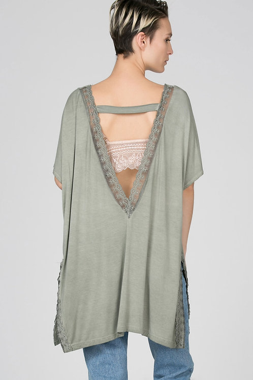 Lace trimed short sleeve boho slit cardigan with deep V open back