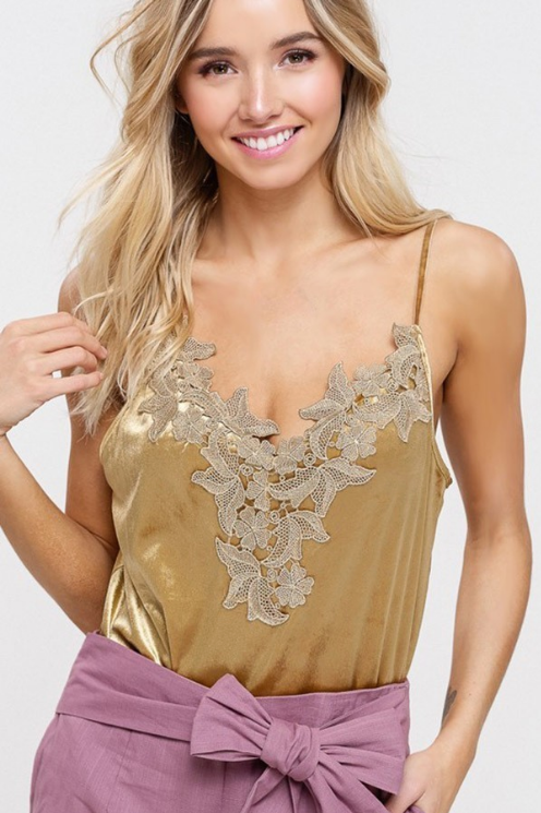 Velvet V-Neck Camisole with Floral Patch