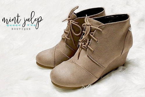 Light Taupe Wedge Booties