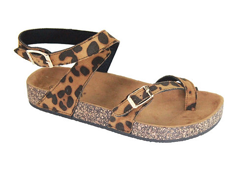 Leopard Sandal with Ankle Strap