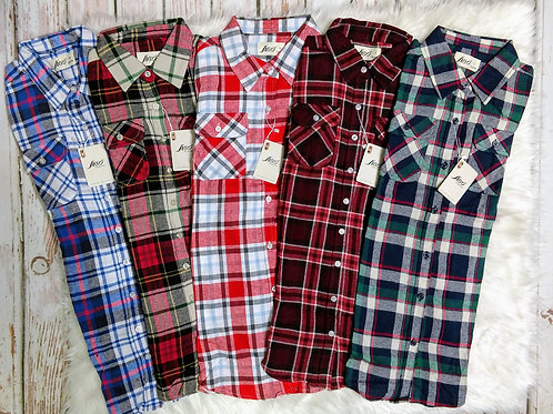 Long Sleeve Plaid Flannel Button Down Shirt