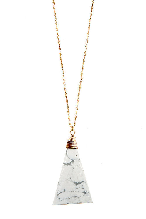 SEMI PRECIOUS TRIANGLE PENDANT LONG NECKLACE