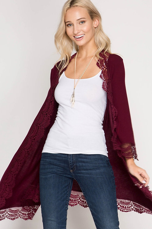 3/4 Sleeve Cardigan with Lace Hemline