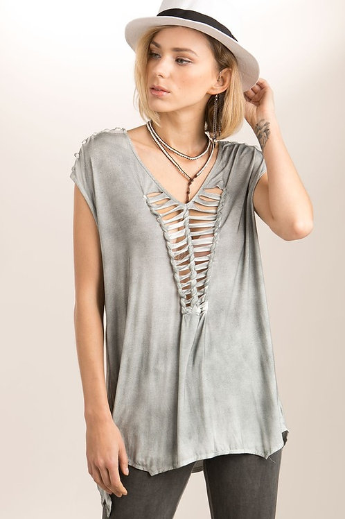 Braided laser cut detailed sleeveless dolman top