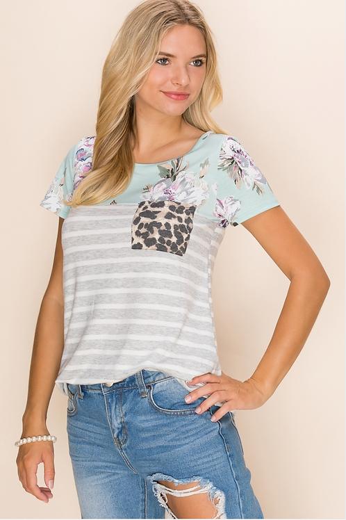 Plus - Floral & Leopard Contrast Top With Pocket