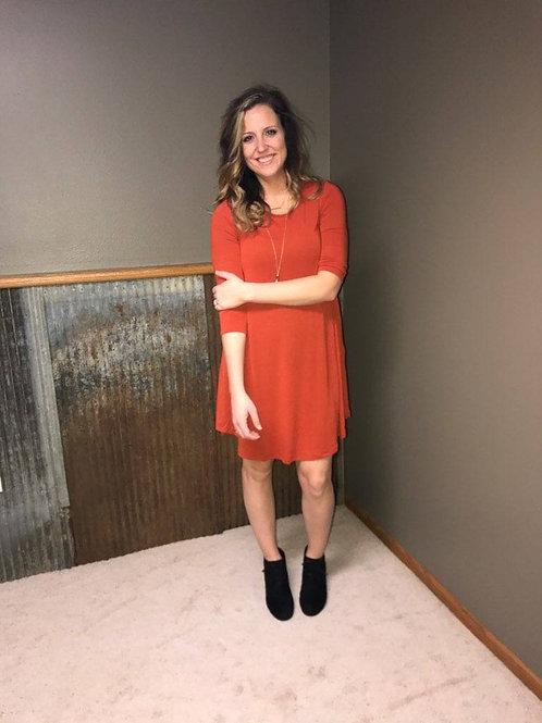 3/4 Sleeve A-line Dress With Pockets